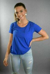 J. Crew Garment Dyed Tee Pocket t shirt XS Extra Small 100% Cotton Thin Blue