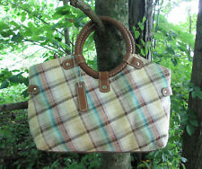 Relic Plaid Print Fabric Handbag Purse Tote Braided Handle