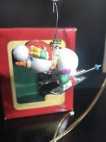Carlton Cards Ornament - Downhill Delight - Snowman on Skis - Green Mittens