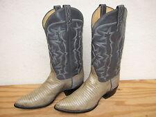 Vtg Mens Tony Lama Black Label Sz 9D Lizard Western Cowboy Boots Beige/Gray