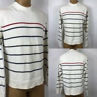 Tommy Hilfiger Pullover Crew Neck Knit Striped Red Blue Sweater Men's SZ XL