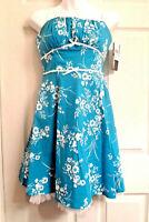 NWT Empire Dress Size 7 Aqua White Floral Ruby Rox Spaghetti Strap Crinoline