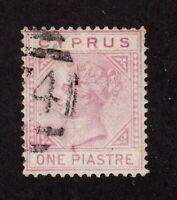Cyprus stamp #12, used, Queen Victoria, 1860's,  one piastre, SCV $38