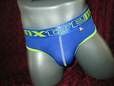 Xtremen Underwear Microfiber Brief Contrast Mesh Blue (Small)