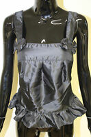 Morgan De Toi womens blabla peplum frill tie waist square neck black top XS