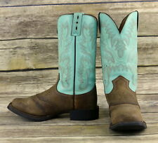 Justin Cowboy Boots Light Turquoise Brown Leather Womens Size 6.5 B Cowgirl