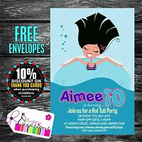 Personalised Birthday Invitations Hot Tub Party x 5
