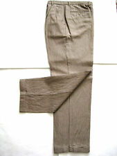 CLUB ROOM PINNED STRIPED BROWN PANTS, SIZE 33 x 32, LINEN BLEND