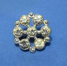 Vintage Snowflake White Rhinestone Starburst Silvertone Metal Small Pin Brooch