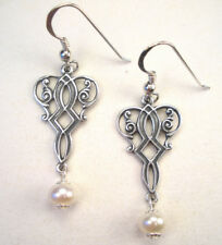 Silver and Pearl Earrings Vintage Style Filigree Jewelry Handmade by Charmedware