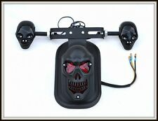 Noir Mat feu stop + support de plaque Skull  ( moto custom quad trike scooter )