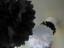 6x 30cm black white tissue paper pom poms wedding party home shower decoration