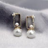 Boucles d`Oreilles Clip on Argenté Gros Double Perle Blanc Gerometrique CC10