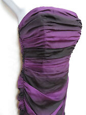 BETSEY JOHNSON Womens Black Purple Ruched Tiered Silk Cocktail Party Dress 2 XS