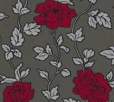 Red Black Grey Silver Floral Trail Wallpaper Glitter Shimmer Vinyl Textured