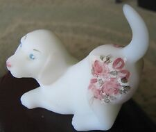 Fenton Art Glass Figurine-1980's Pastel Flowers on Ivory Crouching Dog/Lab