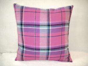 Plaid Pillow Cover Plaid Pink Magenta Turquoise Purple White Farmhouse Handmade