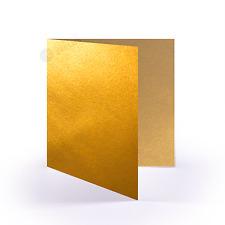 25x Klappkarten quadratisch - Gold - (160 x 160 mm / 16 x 16 cm)