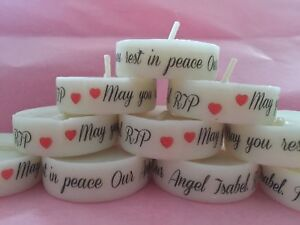 Funeral Personalised Remembrance & candle favours. in memory