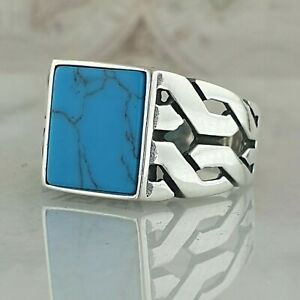 Solid 925 Sterling Silver Men Ring Turquoise Gemstone Handmade Ottoman Style