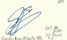 Evander Kane Atlanta Nhl Hockey Autographed Signed Index Card