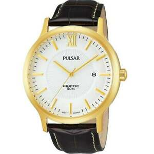 Pulsar Kinetic Gold Case White Dial Leather Strap Gents Watch PAR182