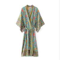 Vintage 80S Hippie Wrapped Floral Print Huge Kimono Sleeve boho Maxi Robe Dress