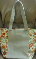 Longaberger Large Tote in sunflower and beige fabric -- used as display only