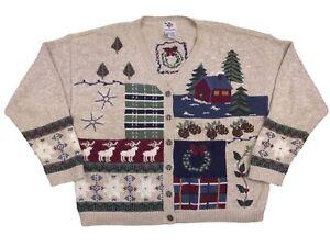 Nutcracker Womens XL Christmas Raindeer Wreaths Cottagecore Cardigan Sweater (Y4