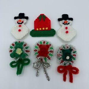 Christmas Pins Lot #5 - Bell Snowman Plastic Canvas  Teddy Bear Wreath