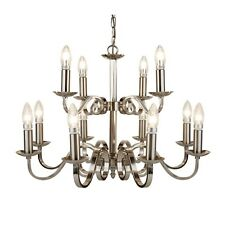 Richmond 12 Light Chandelier Ceiling Lamp Satin Silver Scroll Arms Home Lighting
