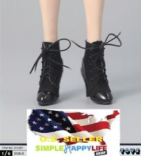 1/6 scale women shoes short black boots lace up for phicen kumik ❶US Seller❶