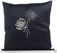 """Casa Embroidered Stitched Floral Cushion Cover 17"""" x 17"""" (43cm x 43cm) Black"""