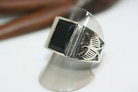 New Cast Men's 6 CT Faceted Natural Rectangular Onyx 925 Silver Eagle Ring Sz 8