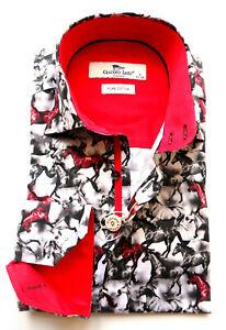 Men's Printed Shirt Slim Fit Long Sleeve Cotton Sizes: S, M Claudio Lugli Horses