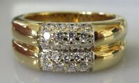 Secondhand 18ct yellow gold multi diamond double band ring (9.1g) size M 1/2