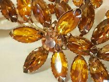 Elegant Vintage 50's Amber Orange Rhinestone Navette Flower Brooch 84n6