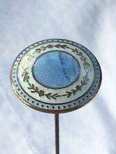 ANTIQUE FRENCH SKY BLUE GUILLOCHE  ENAMEL PRETTY LONG HAT PIN