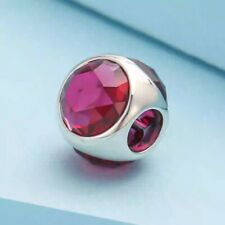Authentic  Pandora Sliver Aqua Red Radiant Droplet Charm 792095