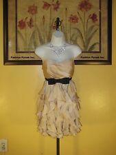 NWT  Arden B. Beige/Black Trim Semi-Formal Strapless Dress SZ S