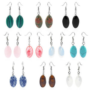 1Pair Elegant Teardrop Earrings Natural Gem Stone Dangle Earring for Women Gifts