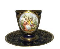 Richard Wehsener RARE SIGNED Dresden Hand Painted cup and saucer Courting Couple