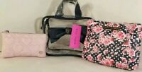 BETSEY JOHNSON WEEKENDER-MAKE-UP pink/BLACK Quilted heart- BAG Trave  3 piece