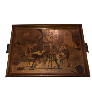 German Buchschmid Gretaux Marquetry Wood Inlay Art Tavern Scene Tray Wall Plaque