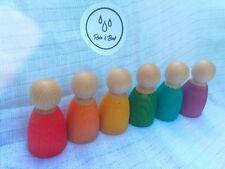 Rainbow Nins Grimms Style Wooden 6cm Montessori Toy