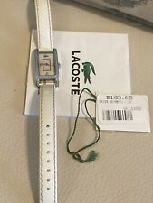 EUC! CLEAN LADIES LACOSTE STAINLESS STEEL WATCH WHITE LEATHER BAND - Free Ship