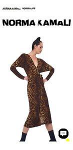 Norma Kamali long sleeve leopard print stretch jersey wrap dress 12
