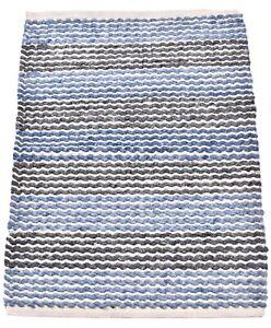 2x3 Ft Modern Rug Grey & Blue Indian Art Carpet Traditional Mat Wool Kitchen Mat