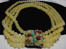 Vintage Italy Coppola E Toppo Yellow Multi Stranded Glass Pendant Bead Necklace