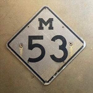 """Michigan state route 53 highway road sign marker 1960s reflective 18"""""""